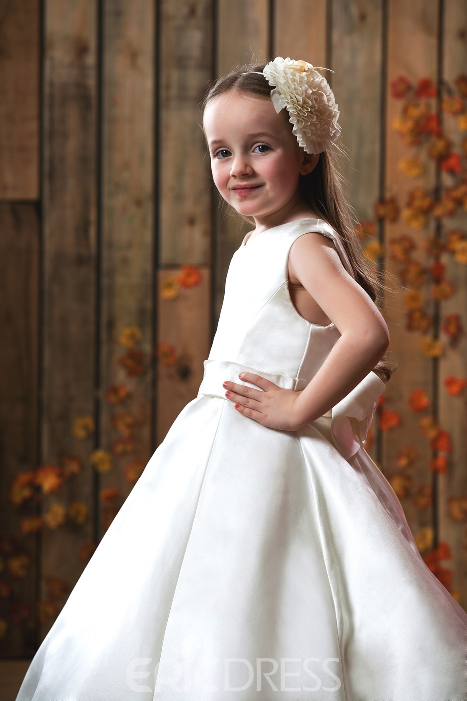 Beautiful Princess Sleeveless Ankle-length Sash Flower Girl Dress
