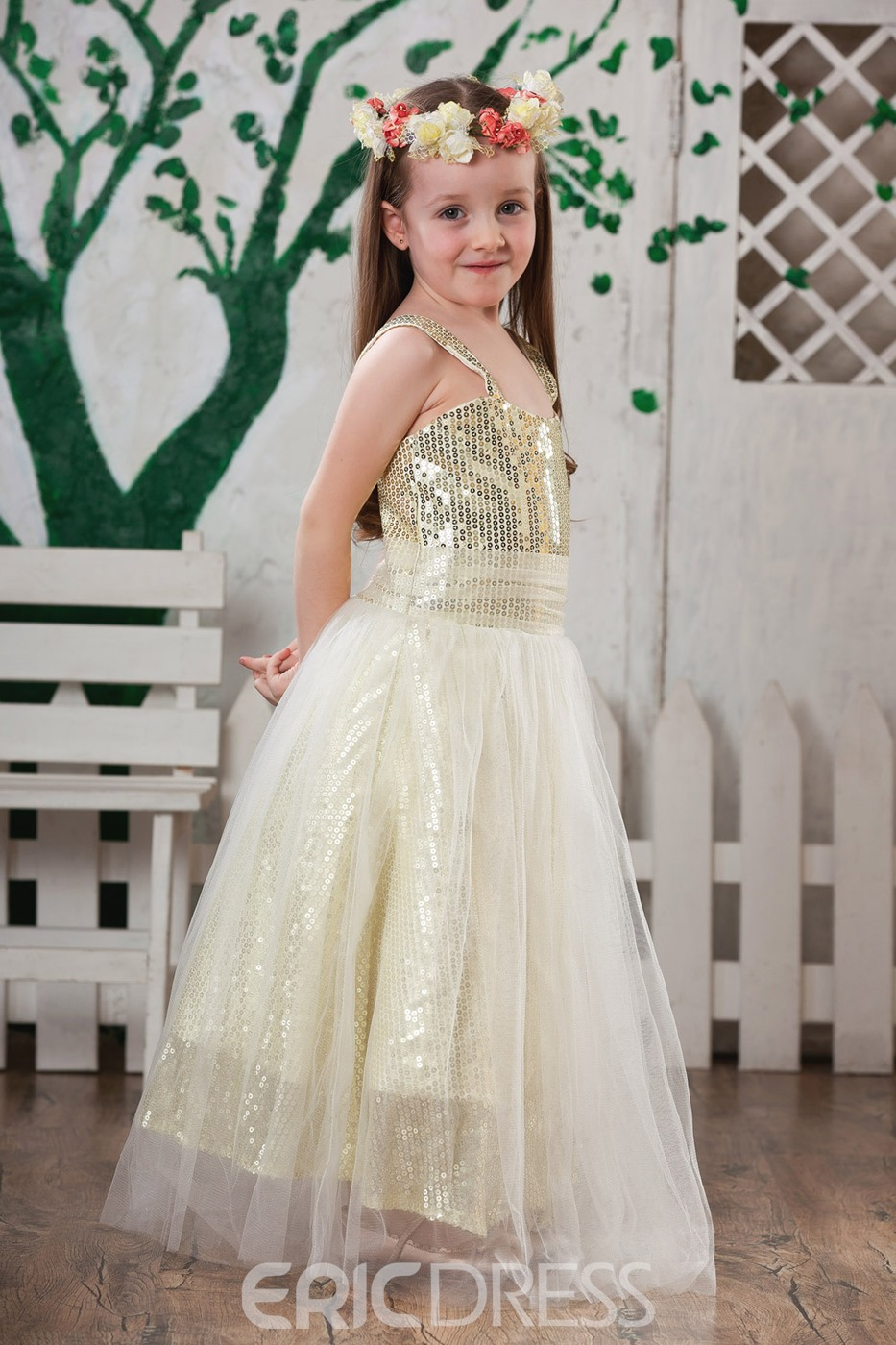 Glamorous A-Line Scoop Tea-length Sequins Flower Girl Dress