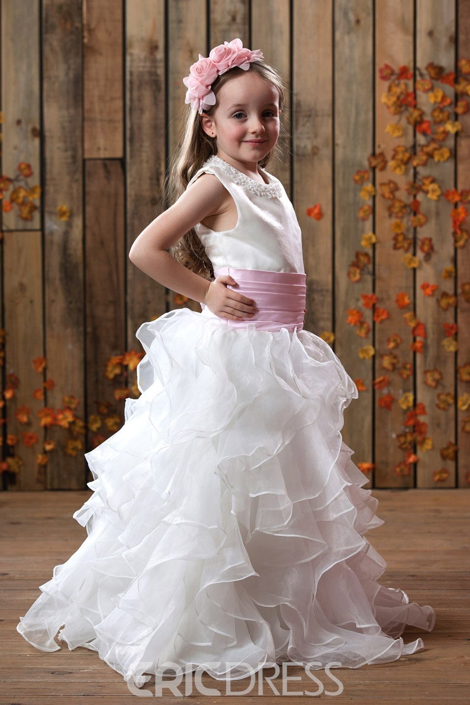 Glamorous A-line Ankle-length Sash Pleats Flower Girl Dress