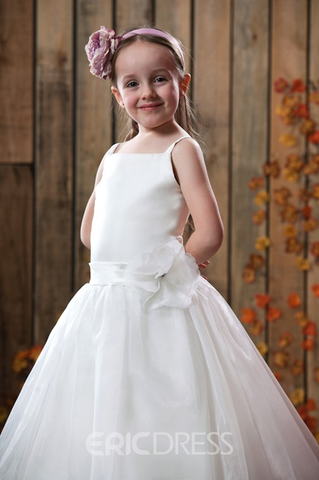 Ericdress Straps 3D Floral Flower Girl Dress