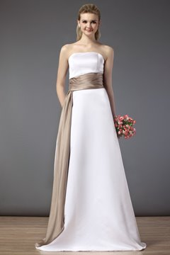 Elegant Sashes/Ribbons Strapless A-line Floor-length Bridesmaid Dress