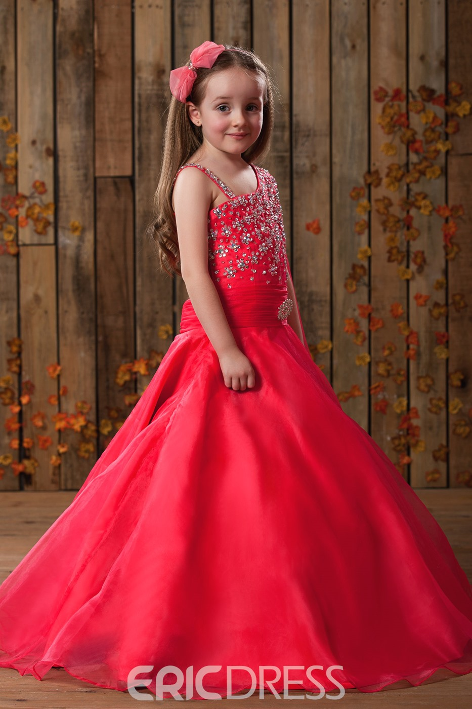 Classy A-Line Straps Floor-length Beadings Flower Girl Dress