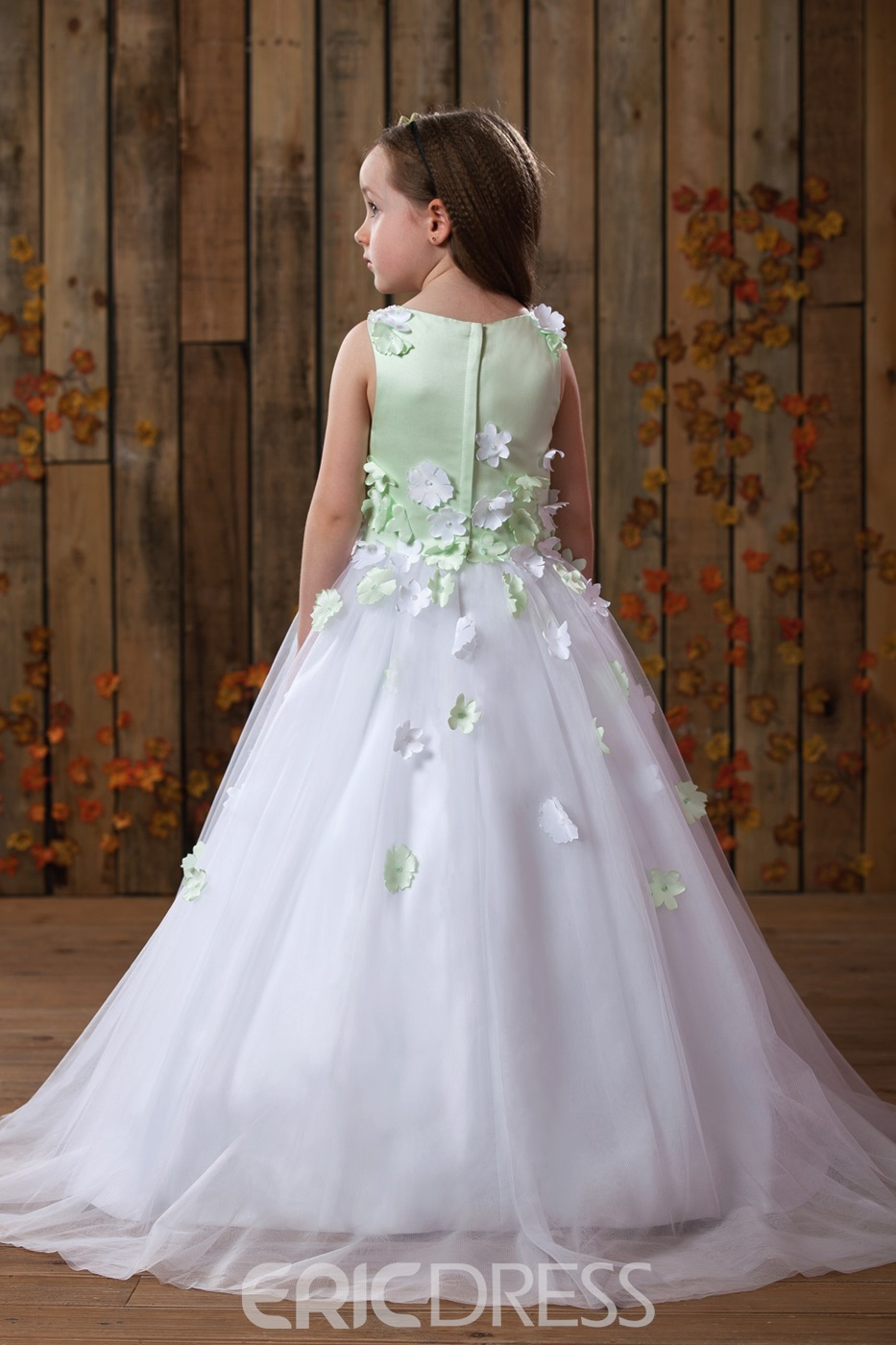 Beautiful Scoop Ball Gown Ankle-Length Appliques Flower Girl Dress