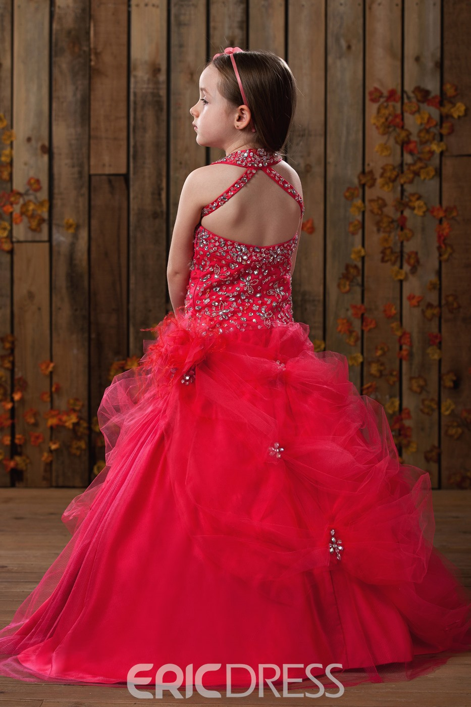 Pretty Ball Gown Halter Floor-Length Sequins Flower Girl Dress