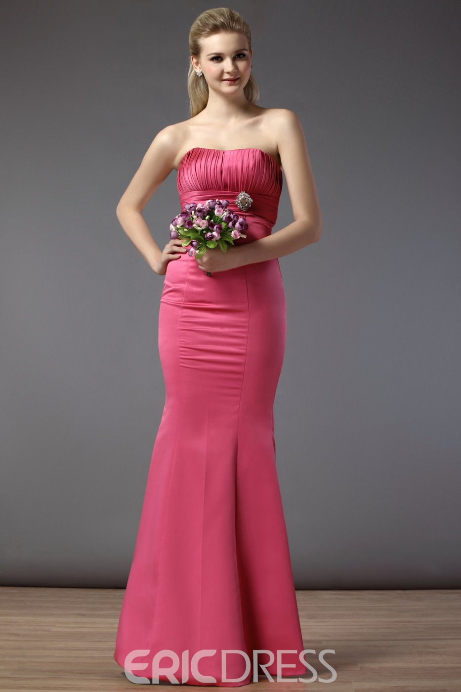 Mermaid Strapless Floor-length Zipper Up Bridesmaid Dress