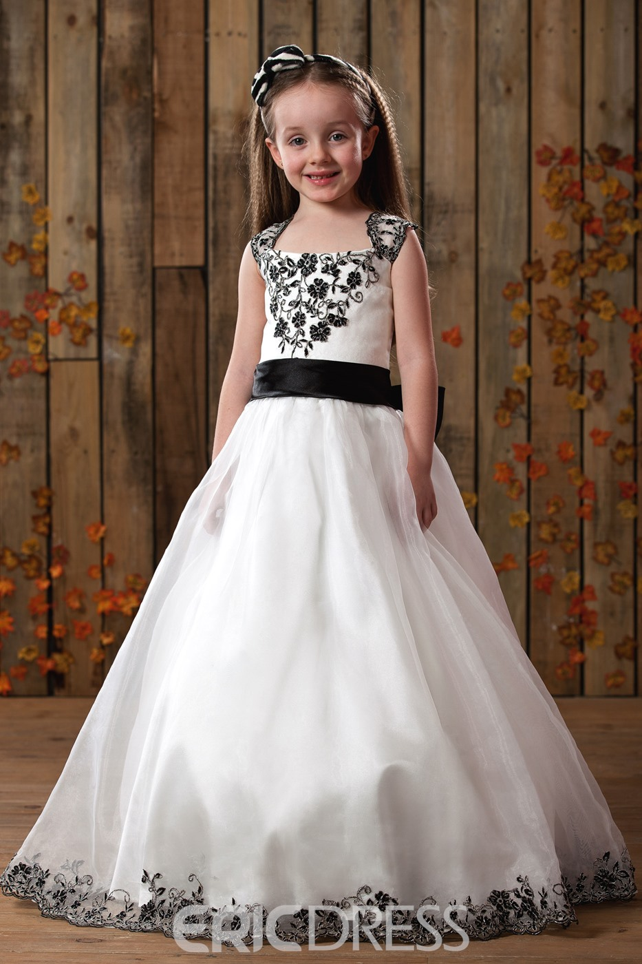 Cute A-Line Square Tea-length Satin Flower Girls Dress