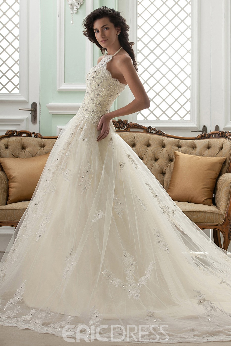 Amazing A-line High-Neck Sleeveless Floor-Length Court Appliques Wedding Dress