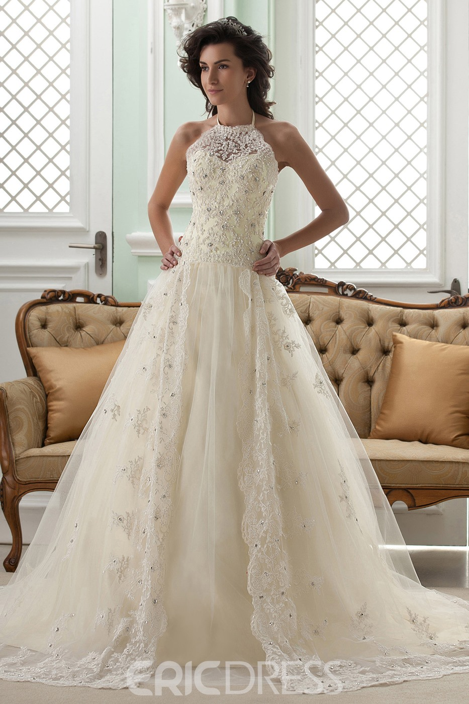 Amazing A-line High-Neck Sleeveless Floor-Length Court Appliques ...