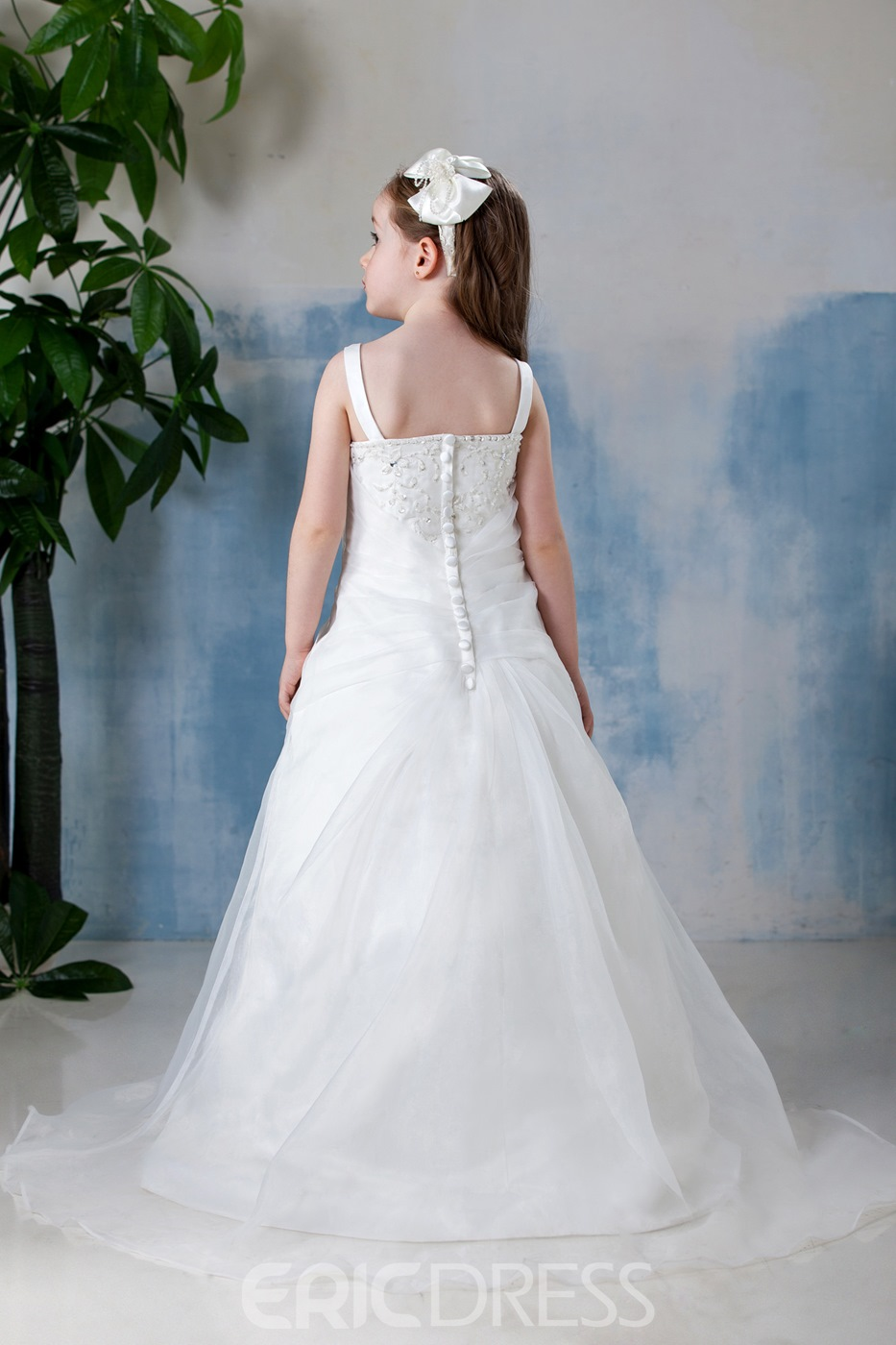 Pretty A-Line Square Neckline Floor- Length Flower Girl Dress