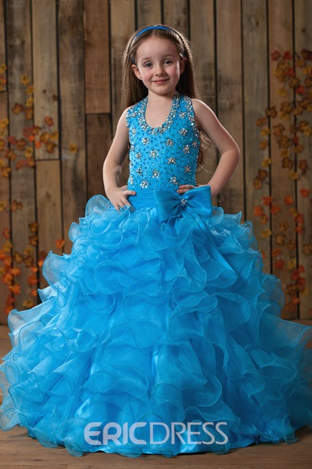 Charming A-line Halter Floor-length Ruffles Beaded Flower Girl Dress