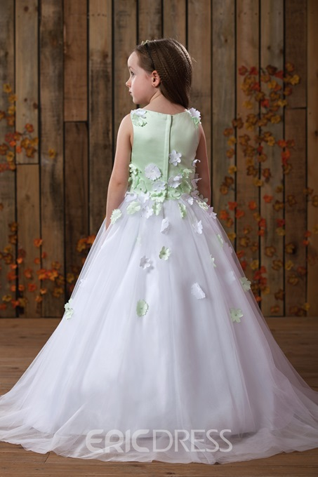 Ericdress Straps Ball Gown 3D Floral Flower Girl Dress