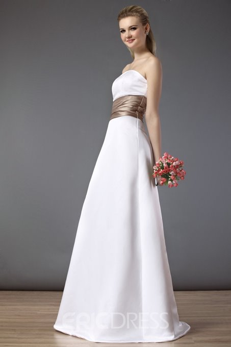 Ericdress Ribbons Strapless Long Bridesmaid Dress