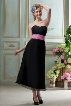 Classy A line Sweetheart Tea-Length Bridesmaid Dress