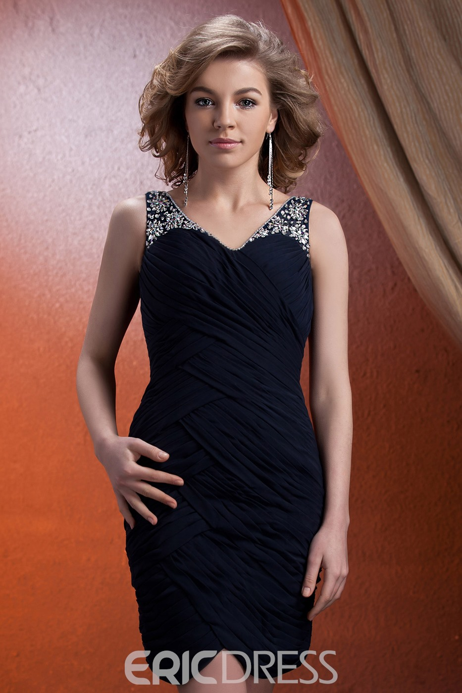 Charming Draped Beading Sheath/Column Short/Mini-Length Mother of Bride Dress