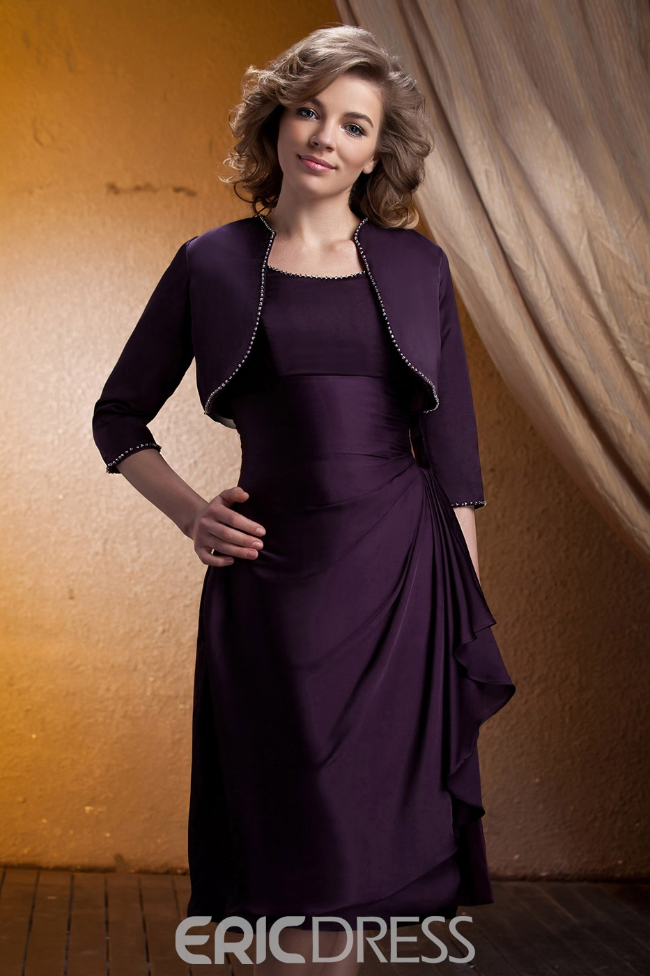 Fabulous A-Line Square Neckline Knee-Length Mother of Bride Dress With Jacket/Shawl