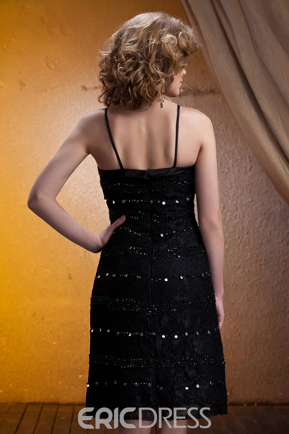 Spagetti Straps Knee-length Lace Mother of The Bride Dress With Jacket/Shawl