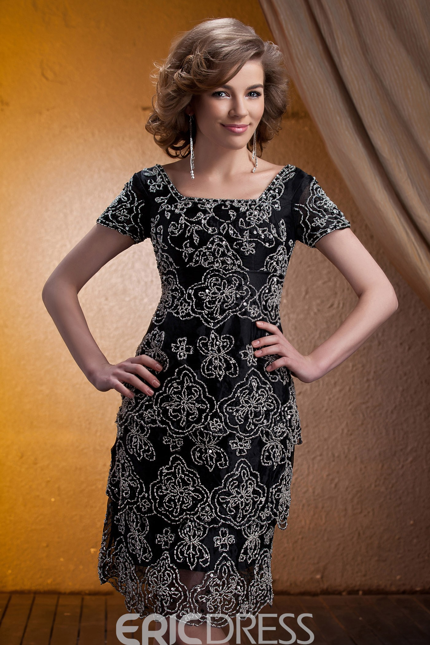 Gorgeous Beading A-Line Knee-Length Square Neckline Mother Of The Bride Dress