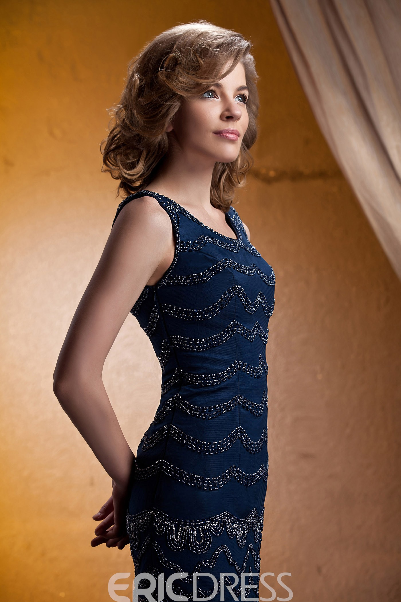 Attractive Beaded Scoop Neckline 3/4-Sleeves Short/Mini-Length Mother of the Bride Dress With Jacket/Shawl