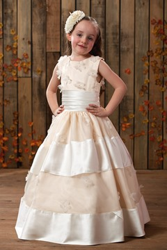 Amazing Ball Gown Round-Neck Floor-Length Appliques Flower Girl Dress