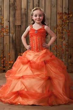 Amazing Ball Gown Straps Floor-length Beading & Ruched Flower Girl Dress