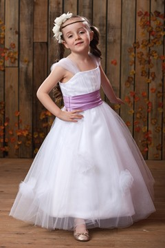 Gorgeous A-Line/Princess Straps Floor-length Sash Flower Girl Dress