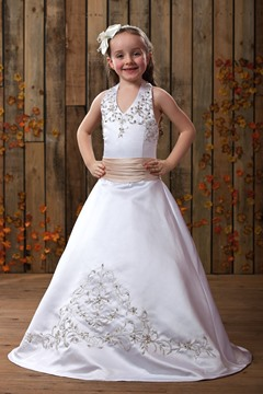 A-Line V-Neck Sleeveless Flower Girl Dress
