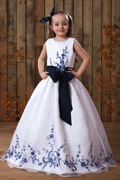 Floor-length A-line Embroidery Flower Girl Dress
