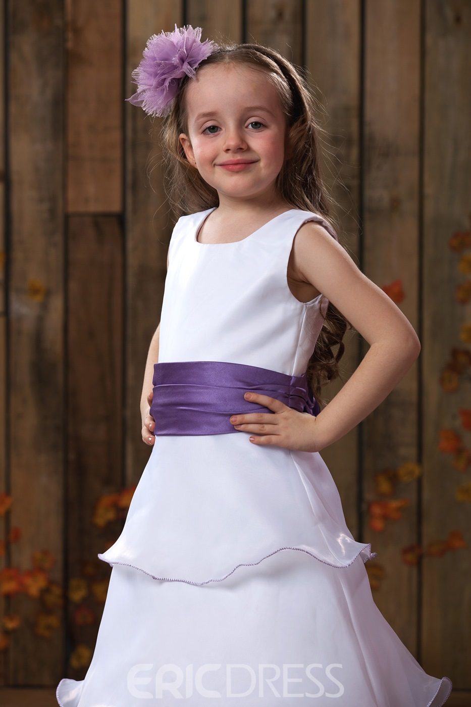 A-Line Round-Neck Tea-length Satin Flower Girl Dress