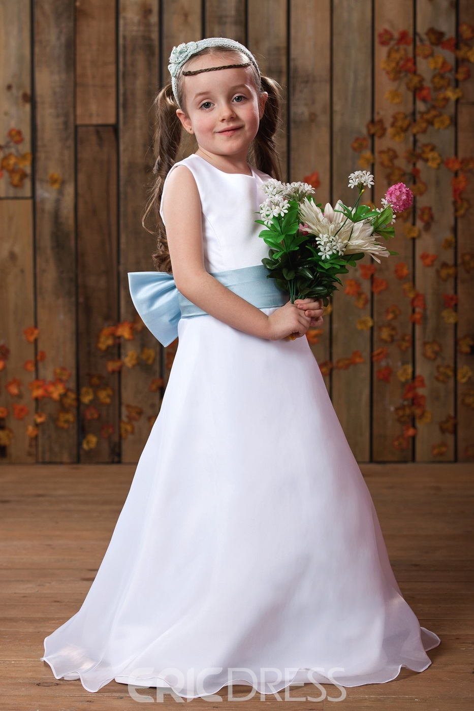 Fantastic A-line Scoop Floor-length Sash Flower Girl Dress