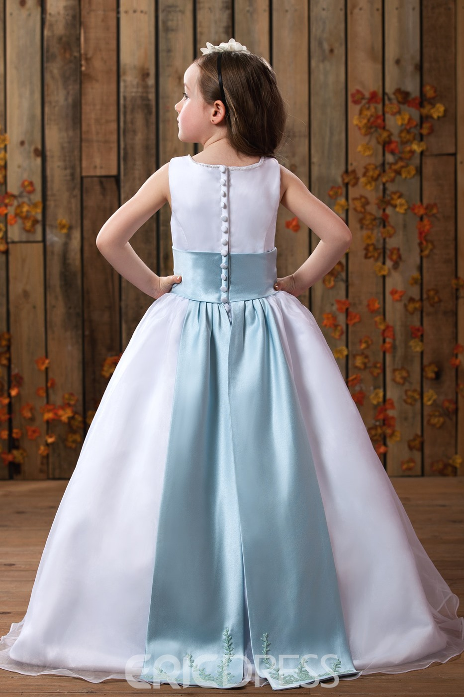 A-Line Square Neckline Floor- Length Flower Girls Dress