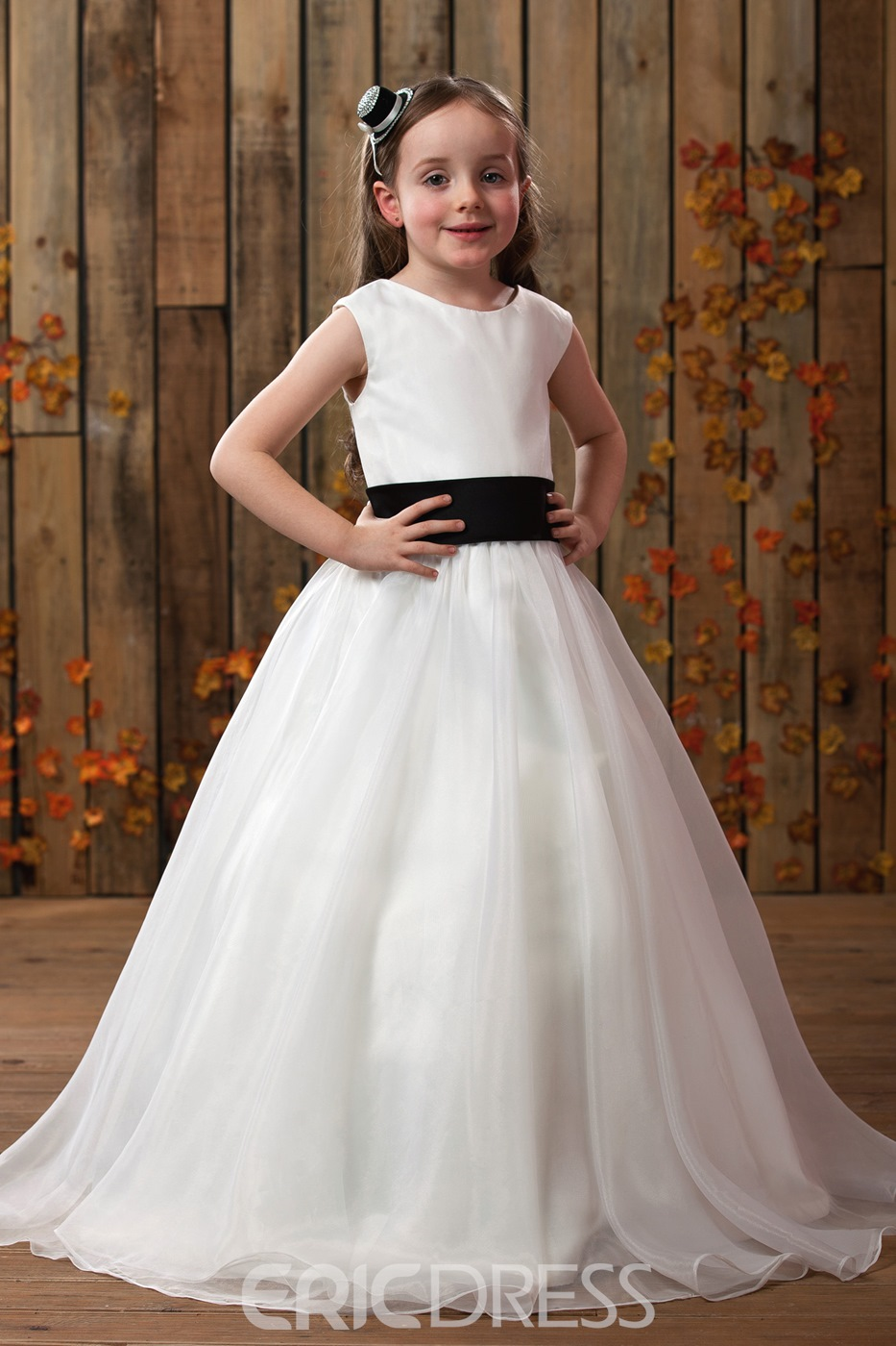 Gorgeous A-line Ankle-length Round-neck Sash Flower Girl Dress