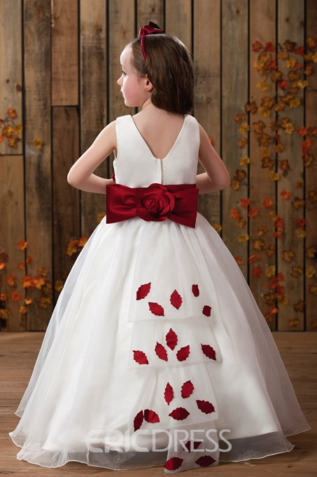 A-Line Round-Neck Tea-length Flower Girl Dress