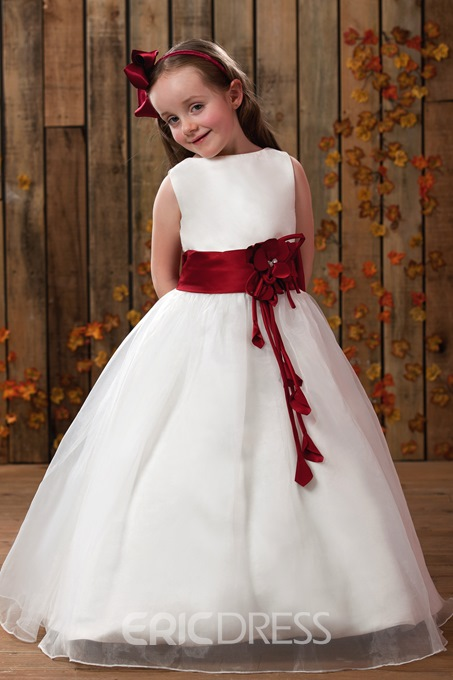 Ericdress A-Line Round Neck Sashes Flower Girl Dress