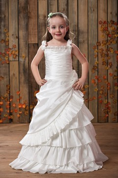 Pretty A-line Straps Tiered Flower Girl Dress
