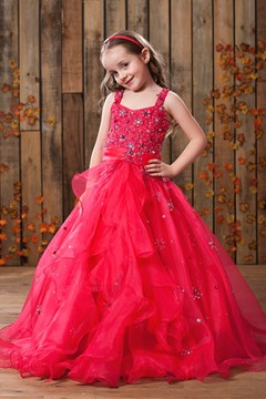 Elegant Ball Gown Straps Floor-length Sequins Flower Girl Dress