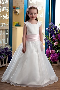 Lovely Ball Gown Tea-length Bateau Bowknot Flower Girl Dress