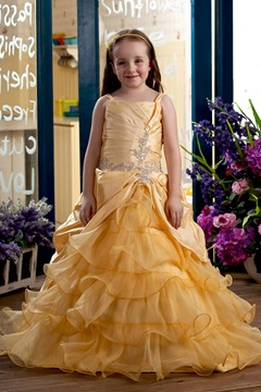 Cute Ball Gown Square Floor-length Tiered Flower Girl Dress