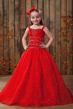 Amazing Ball Gown Floor-length Square Neckline Sequins Flower Girl Dress