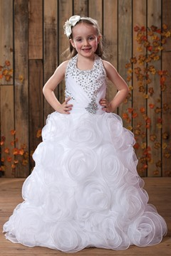 Pretty A-Line Halter Floor-length Flowers Embellishing Flower Girl Dress