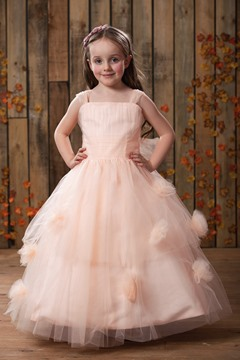 Charming Ball Gown Tea-length Straps Flower Girl Dress