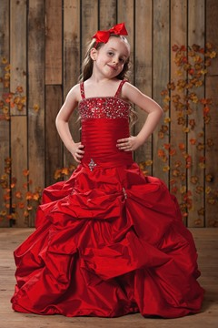 Lovely Ball Gown Spaghetti Straps Floor-length Pleated Sequins Flower Girl Dress