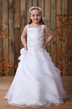 Amazing Square A-line Floor-Length Beaded Pick-ups Flower Girl Dress