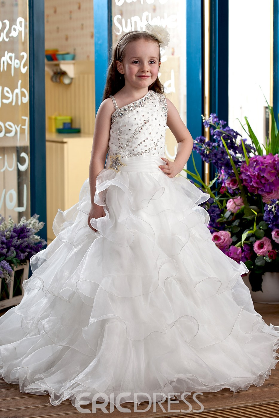 Elegant Ball Gown Floor-Length Tiered Flower Girl Dress