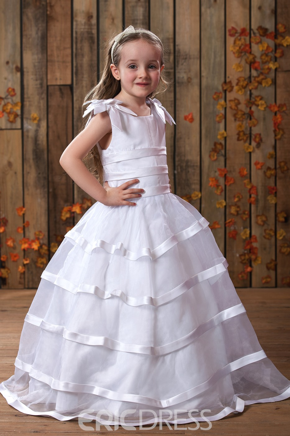 A-Line Round-neck Floor- Length Flower Girls Dress Style