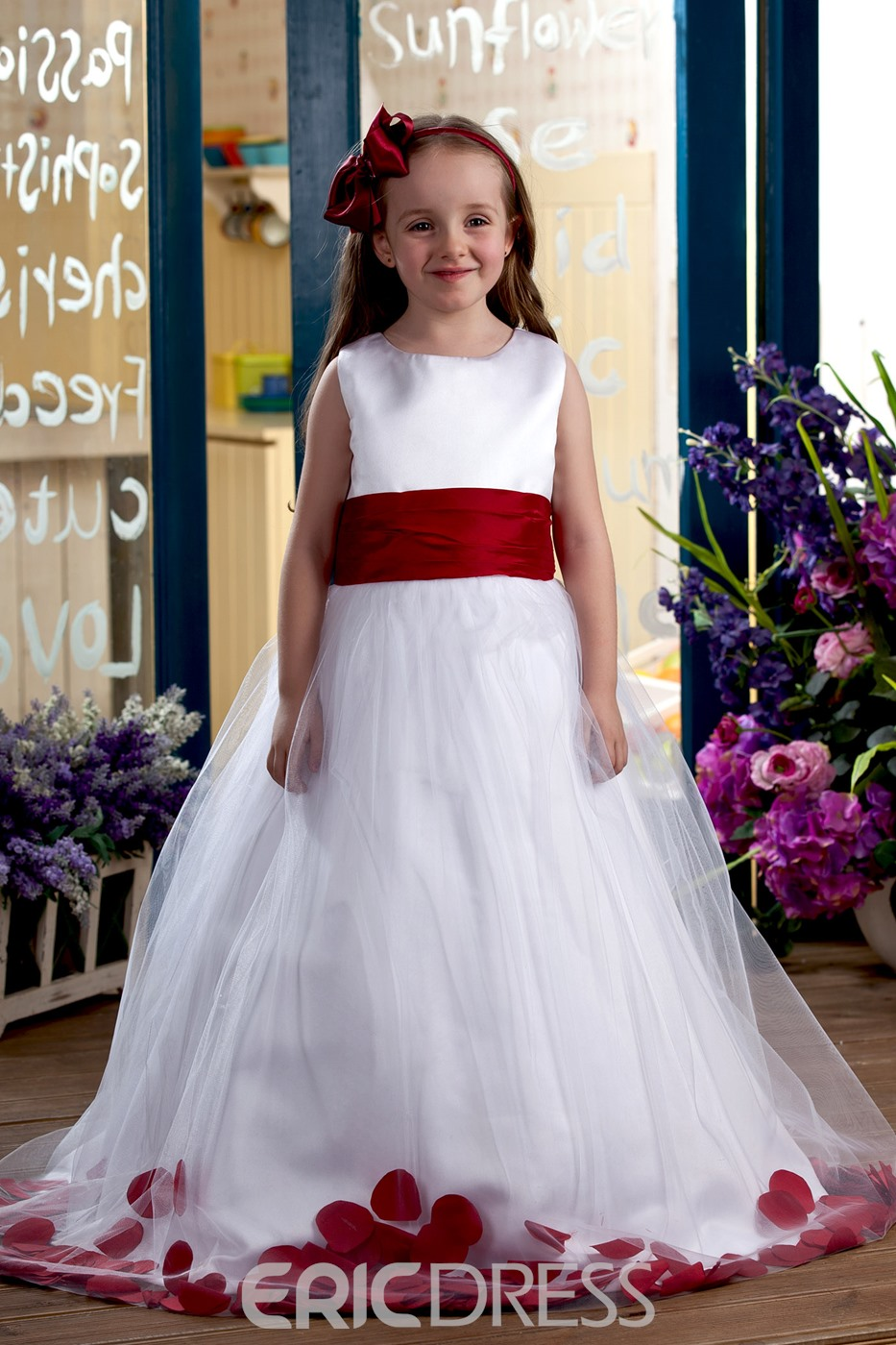 Elegant Ball Gown Ankle-length Bateau Appliques Flower Girl Dress