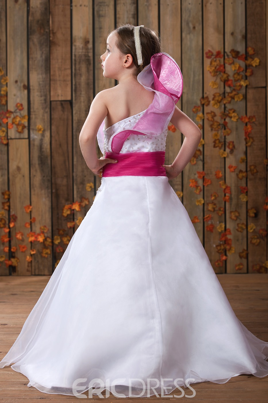 Cute A-line Floral One-shoulder Floor-length Beaded Flower Girl Dress