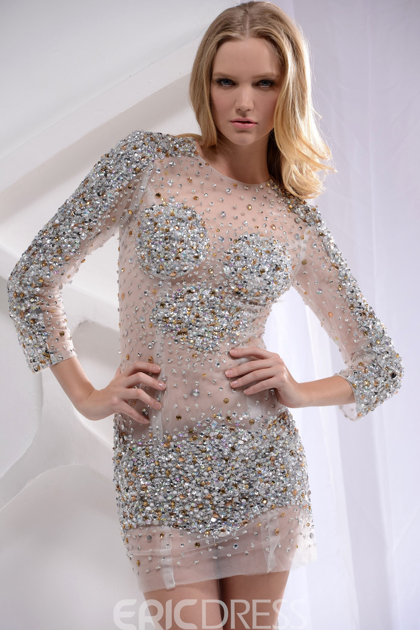 Ericdress Sheath Bateau Crystal Sequins Cocktail Dress With Long Sleeve