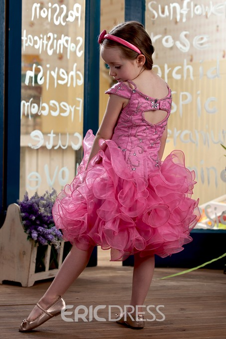Pretty Capped-Sleeve Ruched & Embroidery Short Flower Girl Dress