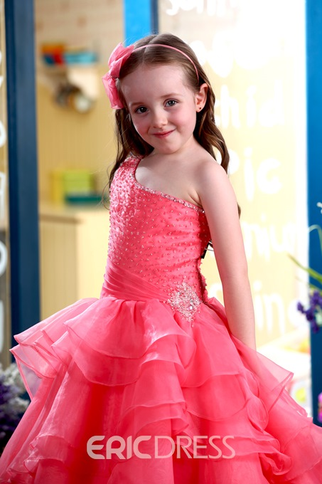 Glamorous A-Line Floor-length One-Shoulder Ruffles Flower Girl Dress