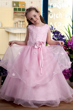 Scoop Tea-length A-line Sash Flower Girl Dress